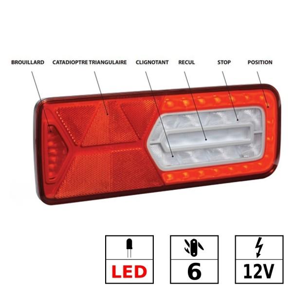 Feu arrière droit LED 12V 6 fonctions
