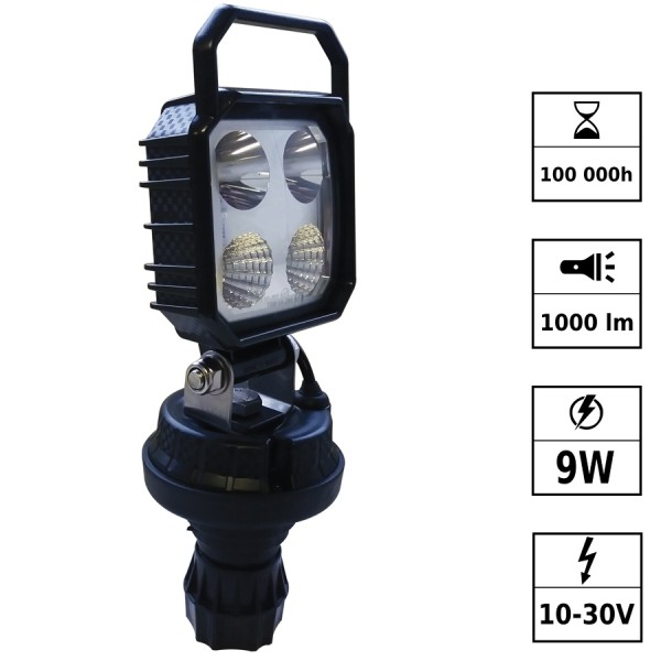 Phare de travail LED portatif 10/30V 9W 1000 Lm pôle FLEXIDIN