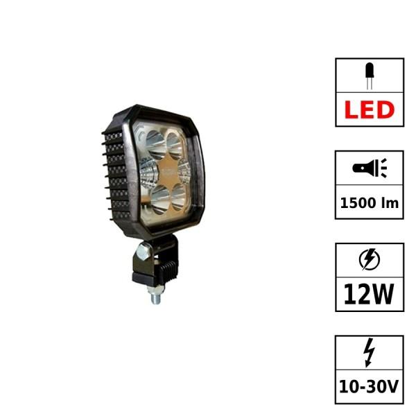 Phare de travail LED 10/30V 12W 1500 Lm CARBONLUX - carré
