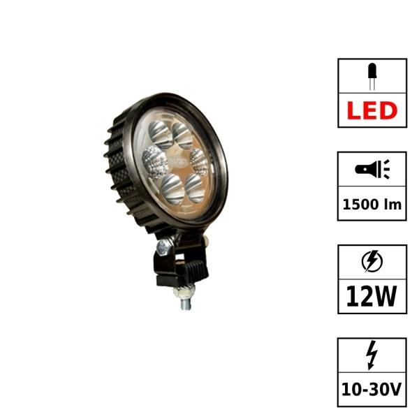 Phare de travail LED avec câble 10/30V 12W 1500 Lm CARBONLUX - rond