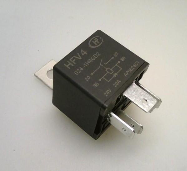Relais 24V 4 bornes 40A + diode + support métal