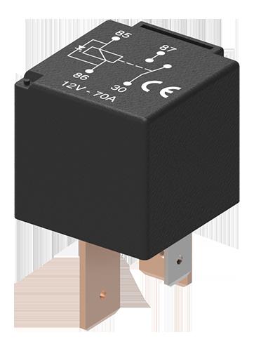Relais de puissance NO 12V 70A 4P avec diode