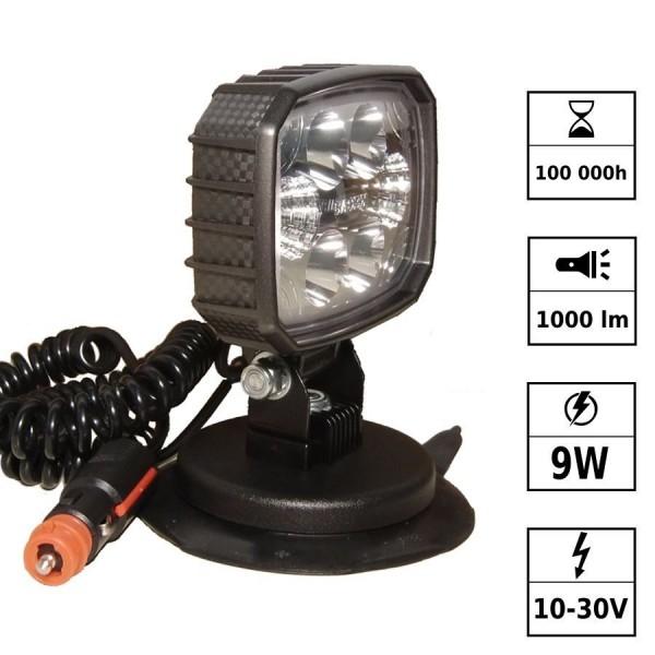 Phare de travail LED magnétique 10/30V 12W 1500 Lm connect. Deutsch