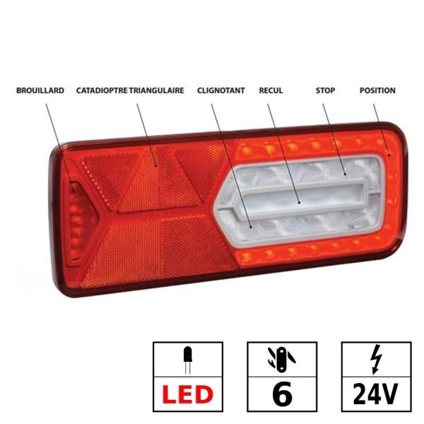 Feu arrière droit LED 24V 6 fonctions dont AB